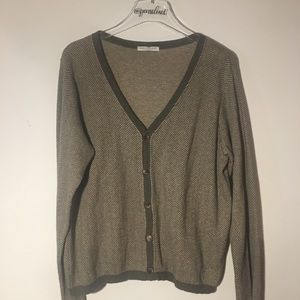 Joan Vass Brown Herringbone Cardigan Size 12/14